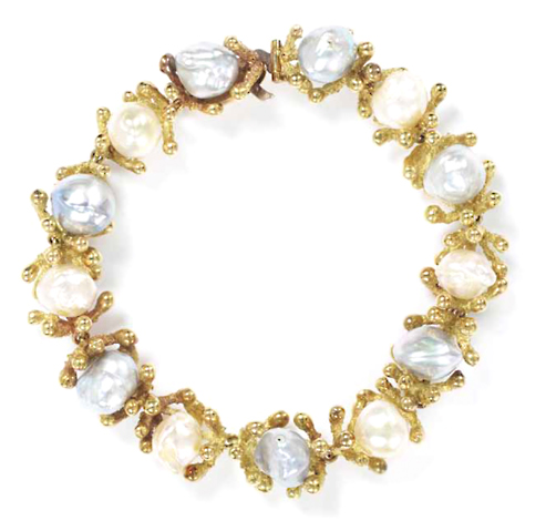 Yellow Gold Ring White Pearl With Clusters White Sapphires